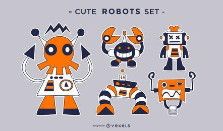 Conjunto plano lindo robots locos