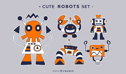 Cute crazy robots flat set