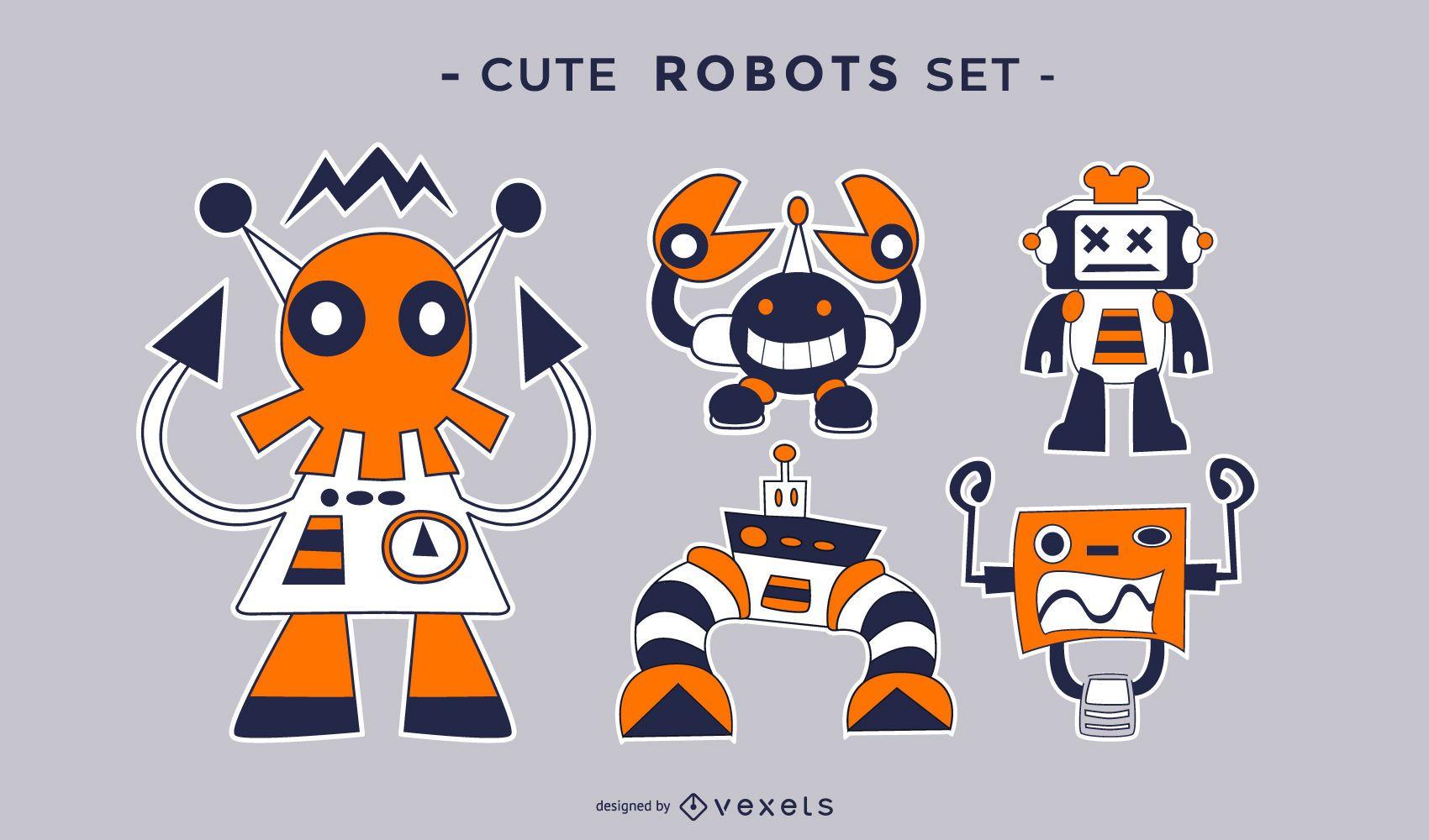 Cute crazy robots flat set