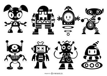 Pacote de silhueta de robôs fofos