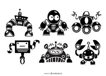Conjunto de silhueta de robôs fofos