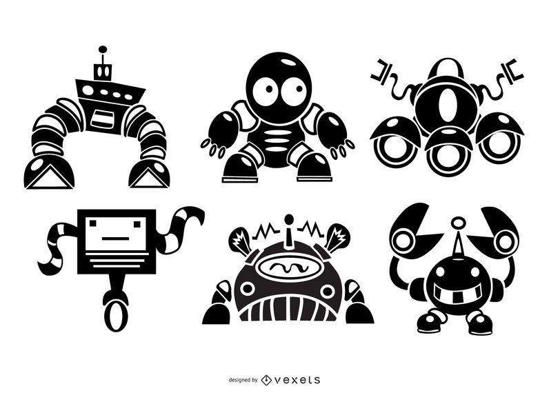 Cute robots silhouette set