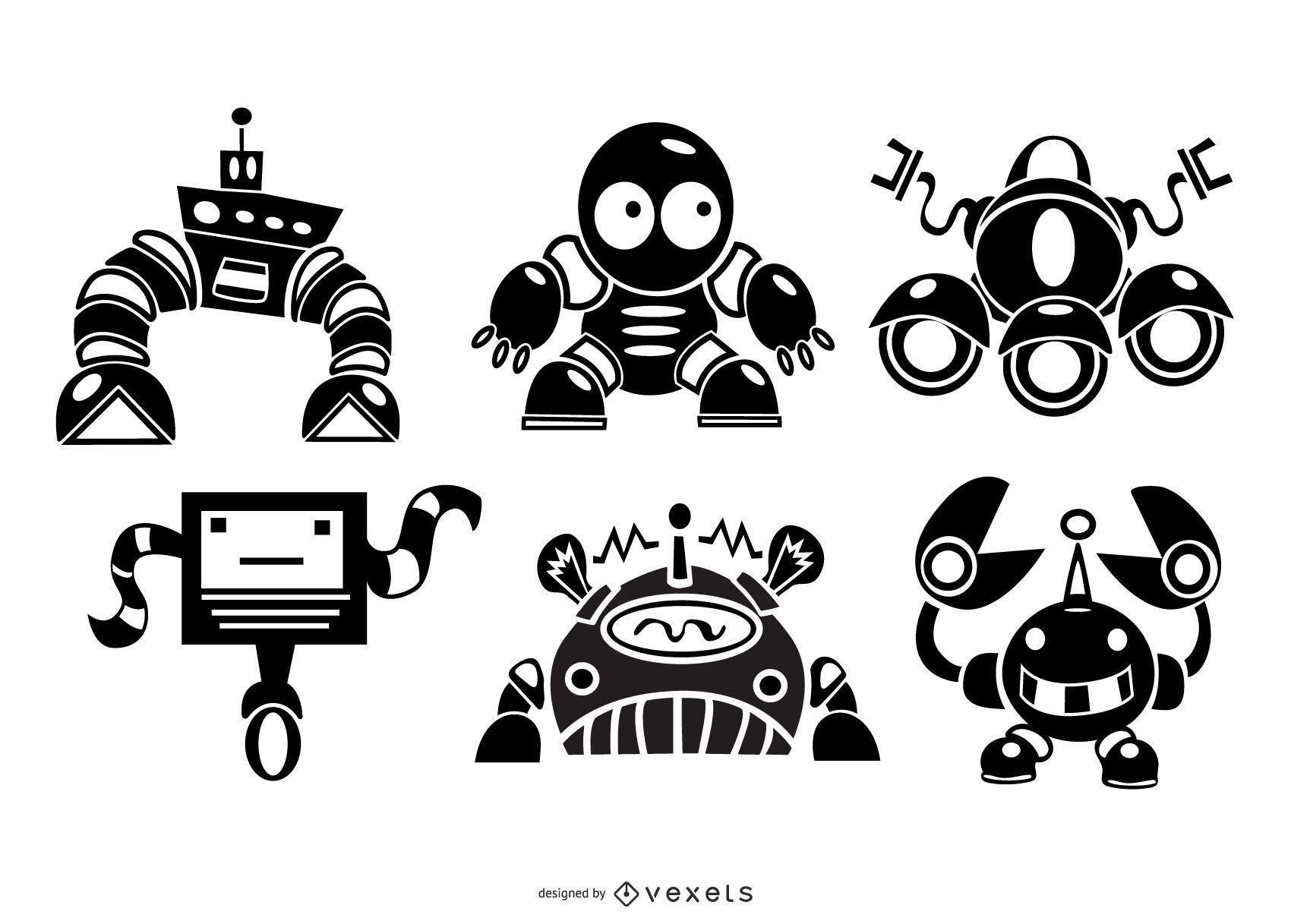 Lindo conjunto de silueta de robots