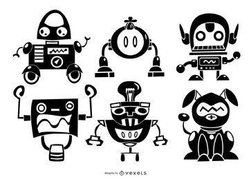 Conjunto de caracteres de silhueta de robôs