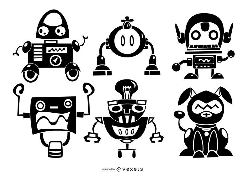 Robots silhouette character set