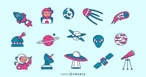 Pack de iconos de trazo espacial