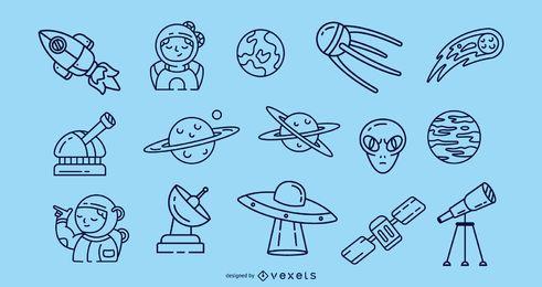 Colección de iconos de trazo espacial