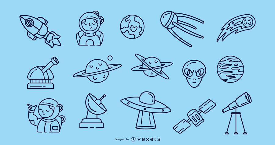 Space stroke icons collection