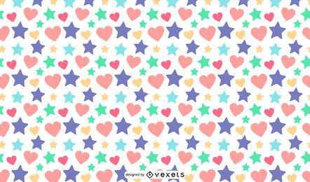 Estrelas corações design padrão