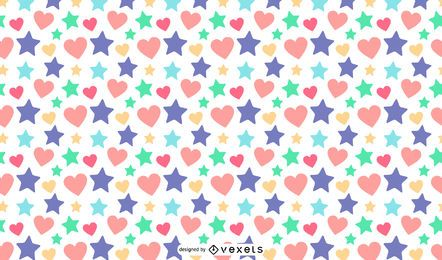 Stars hearts pattern design