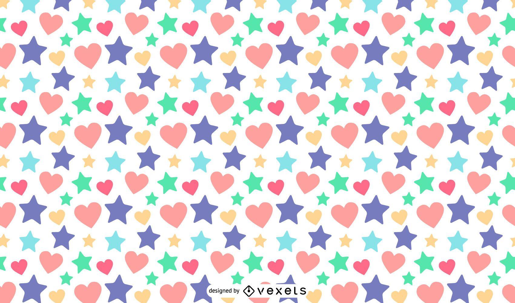 Diseño de patrón de corazones de estrellas