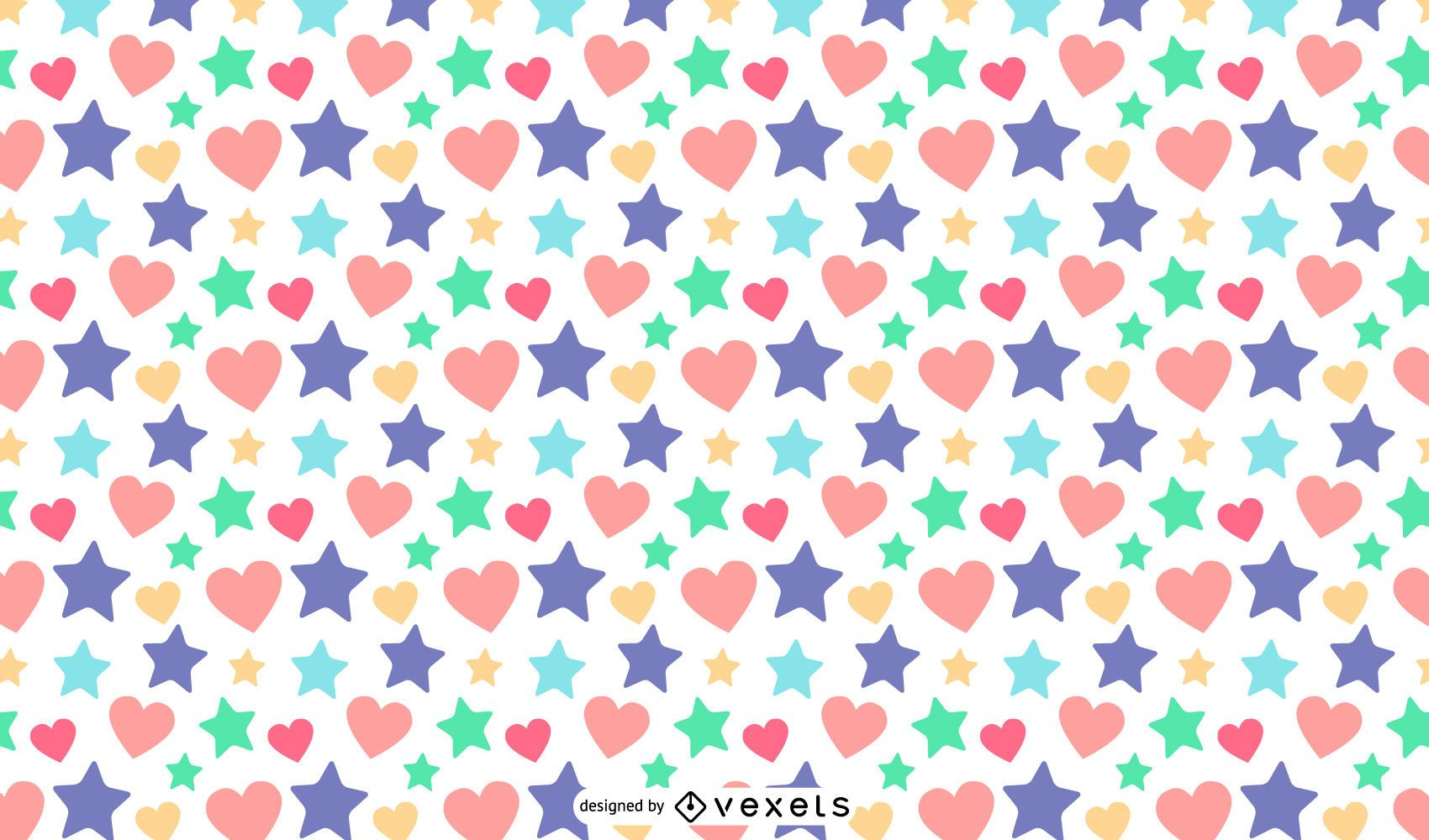 Stars hearts pattern design
