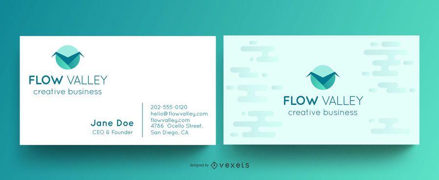 Plantilla de tarjeta de visita - valle del flujo