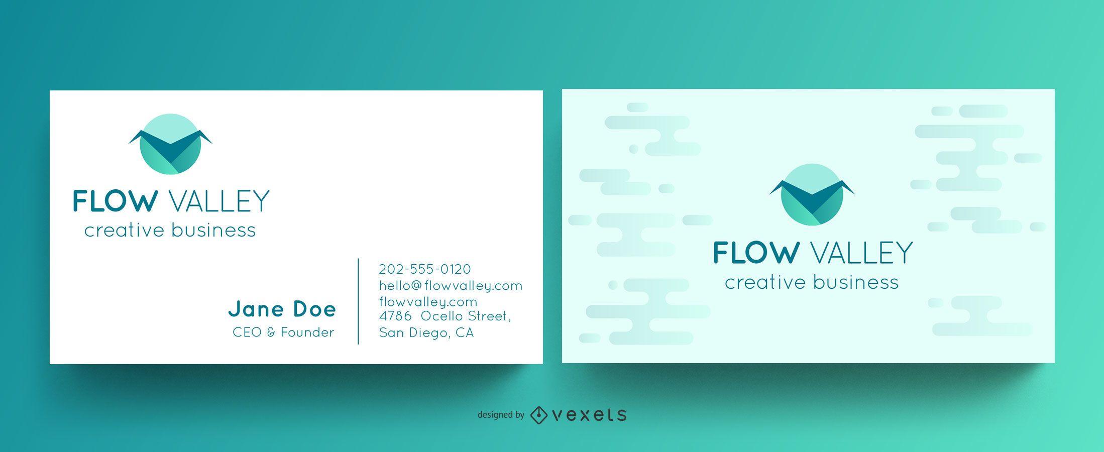 Plantilla de tarjeta de visita de flow valley