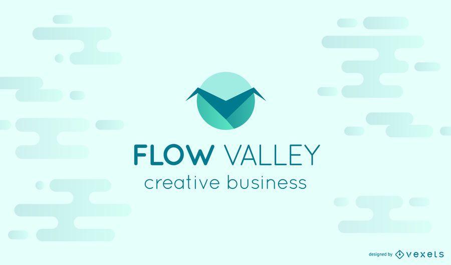 Modelo de logotipo de vale do fluxo
