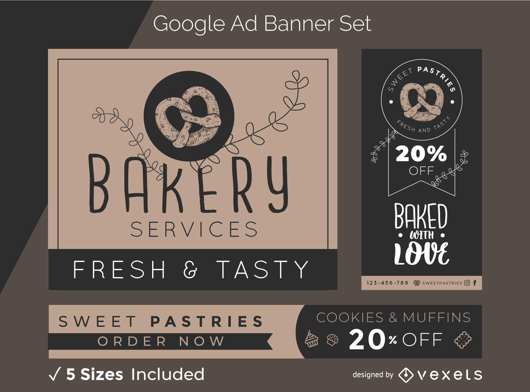 Conjunto de banner publicitario de panadería