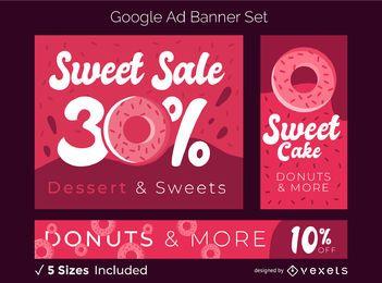Conjunto de banner de anúncio de doces