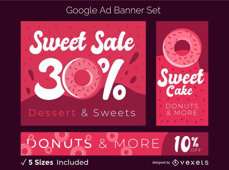 Conjunto de banner de anuncios de dulces