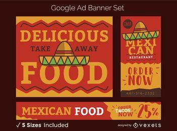 Conjunto de pancartas de comida mexicana