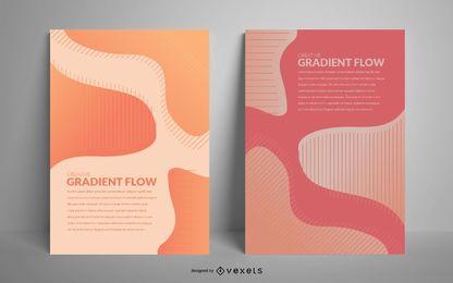 Conjunto de cartaz de fluxo abstrato