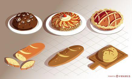 conjunto de padaria comida isométrica