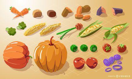 Coleção isométrica de vegetais