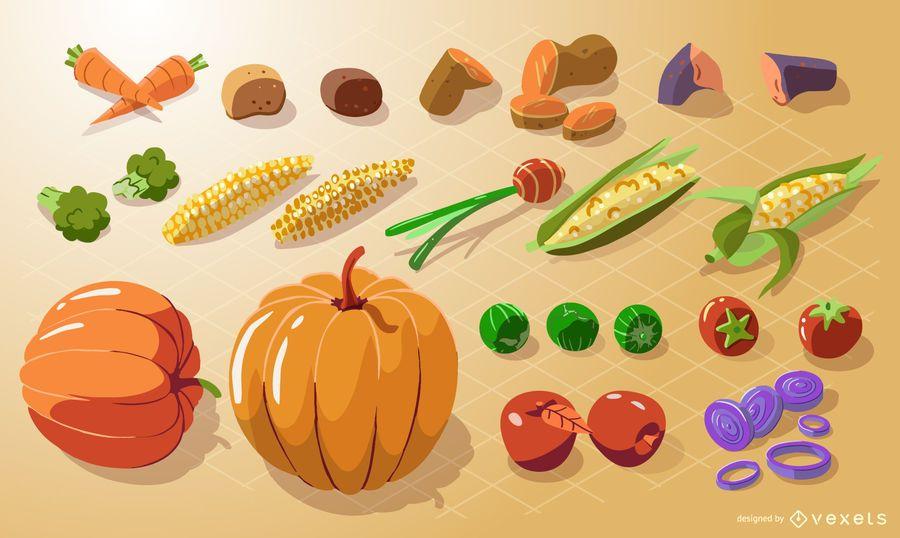 Colección isométrica de verduras