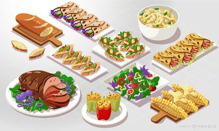 Pack de vectores de comida isométrica