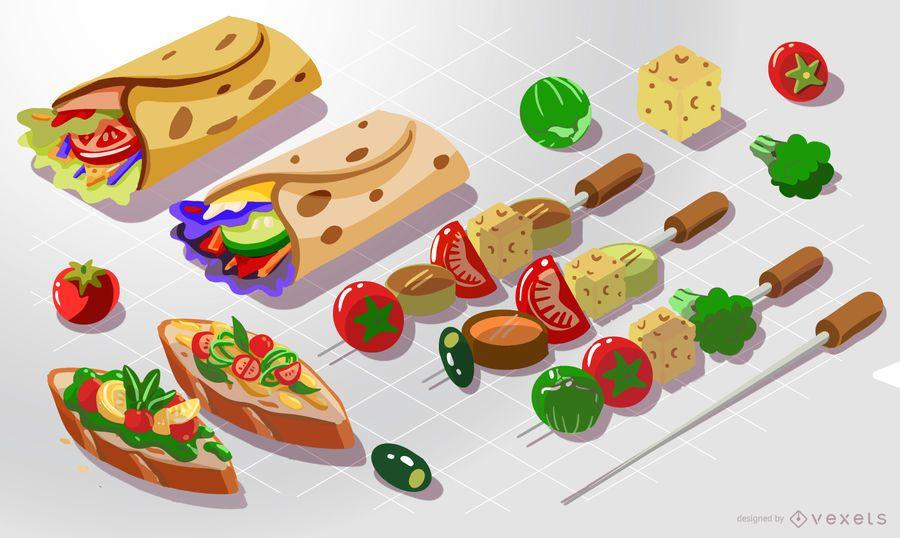 Paquete isométrico de alimentos saludables