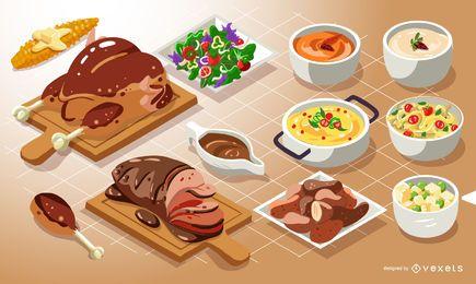 Conjunto de comida isométrica