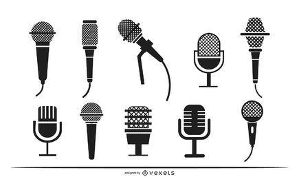 Conjunto de silueta de micrófonos