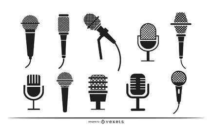 Microphones silhouette set