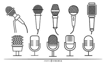 Conjunto de trazos de micrófonos