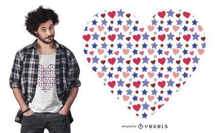 Diseño lindo de la camiseta del corazón