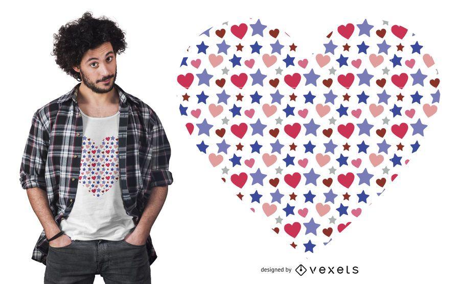 Design de t-shirt bonito coração