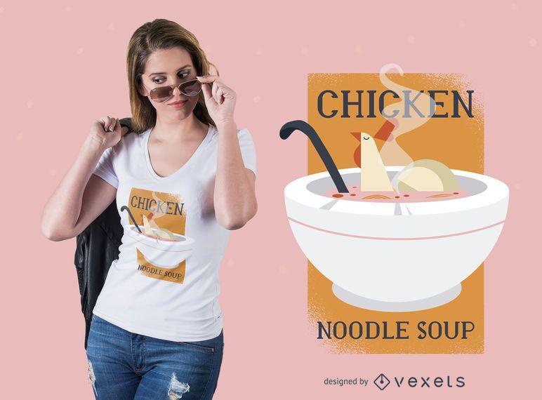 Diseño de camiseta de sopa de fideos con pollo