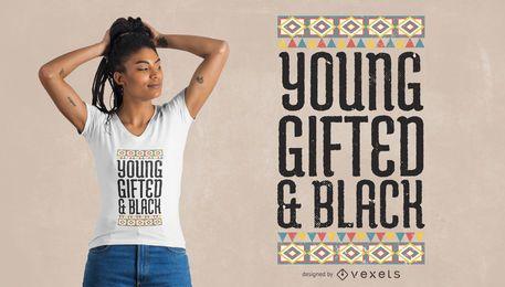 Diseño de camiseta negra joven superdotado