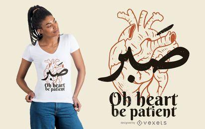 Diseño de camiseta de corazón sea paciente