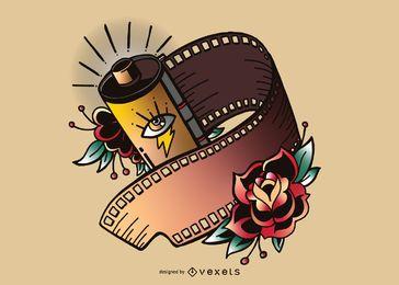 Ilustração de tira de filme vintage