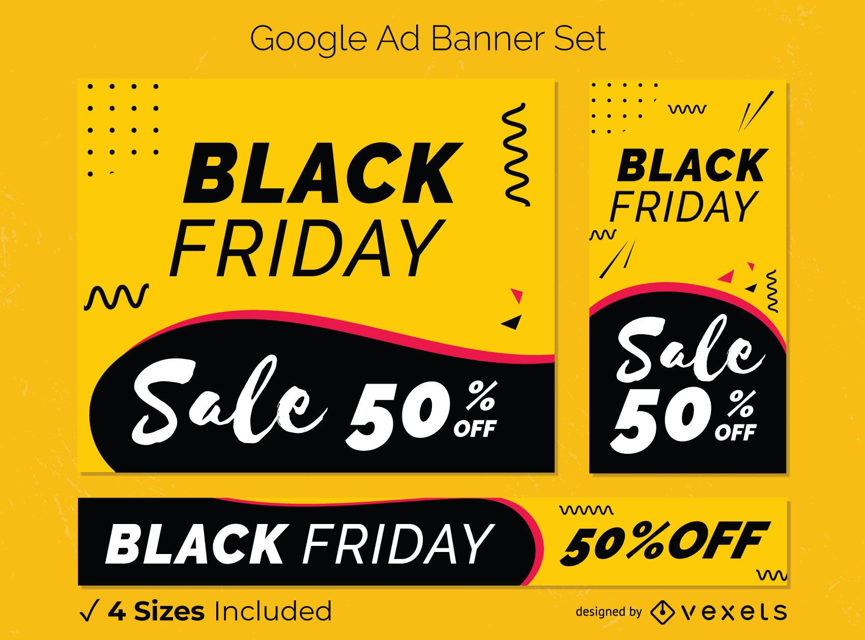 Conjunto de banner de venta de viernes negro
