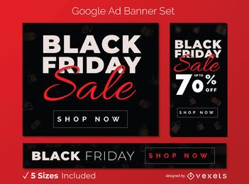 Black friday sale google ad banner set