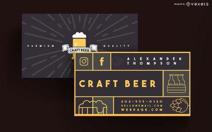 Diseño de tarjeta de visita de cerveza