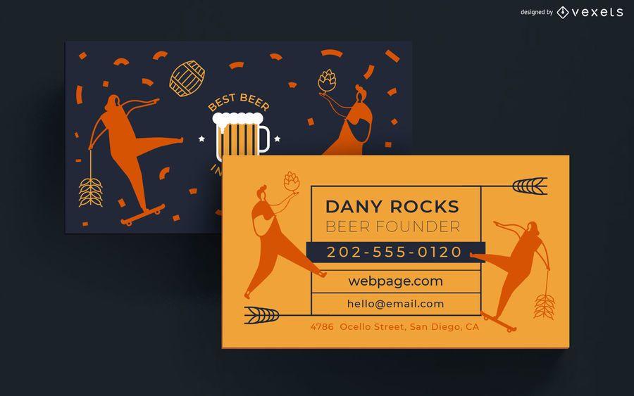 Plantilla de tarjeta de visita de cerveza