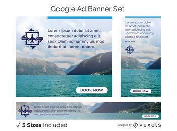 Conjunto de banners de agencia de viajes
