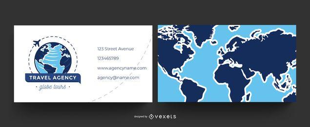 Tarjeta de visita mundial de agencia de viajes