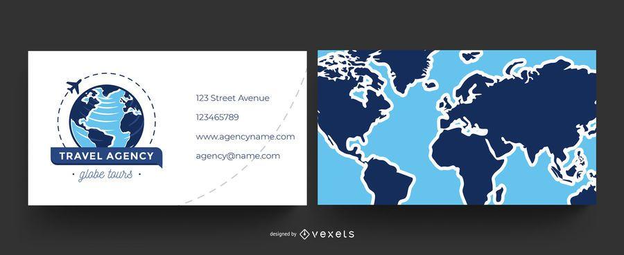 Cartão de visita mundial da agência de viagens