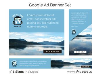 Travel bag tourism banner set