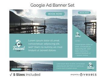 Conjunto de banners de anúncios de viagens
