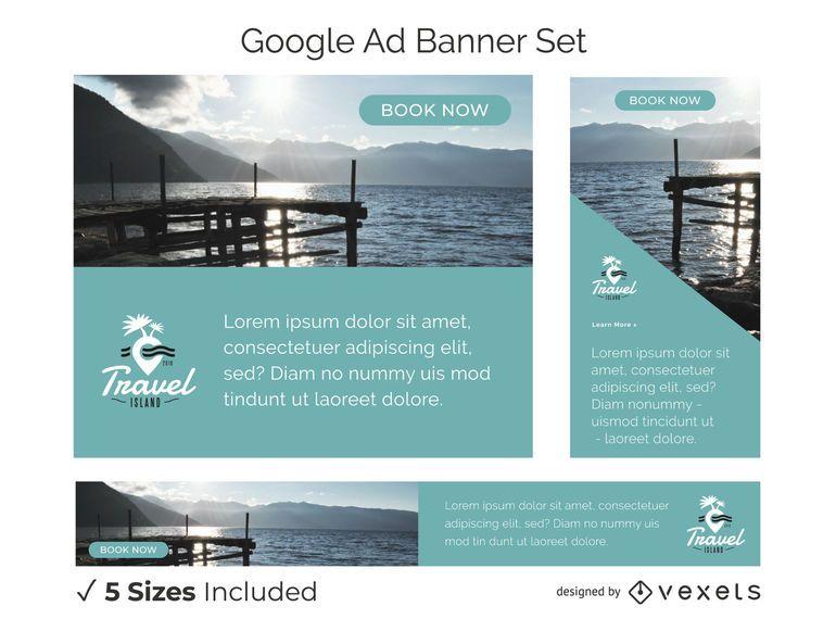 Travel ad banner set