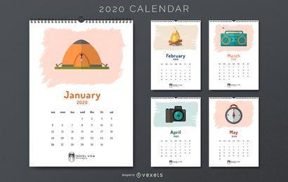 Calendário 2020 de viagens